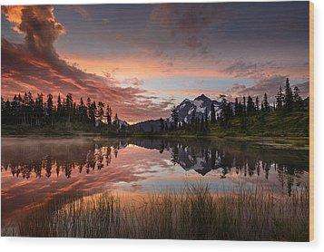 Mount Shuksan Fiery Sunrise Wood Print by Dan Mihai