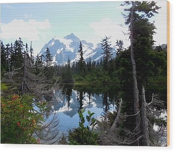 Mount Shuksan Reflection Wood Print by Karen Molenaar Terrell