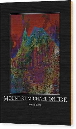 Mount St Michael On Fire Wood Print
