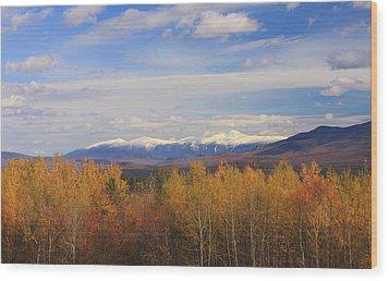 Mount Washington And Presidential Range Snow Foliage Wood Print by John Burk