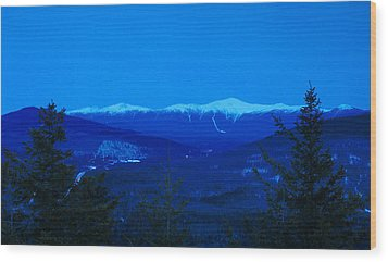 Mount Washington And The Presidential Range At Twilight From Mount Sugarloaf Wood Print