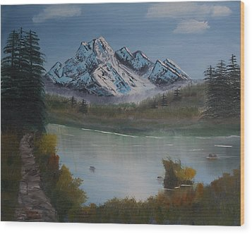 Mountain And River Wood Print by Ian Donley