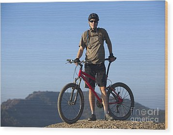 Mountain Biker Wood Print by Mike Raabe
