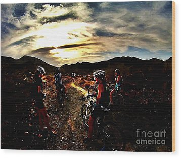 Mountain Biking Ladies Wood Print by Scott Allison