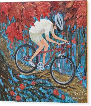 Mountain Biking Wood Print