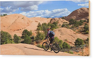 Mountain Biking Moab Slickrock Trail - Utah Wood Print by Gary Whitton
