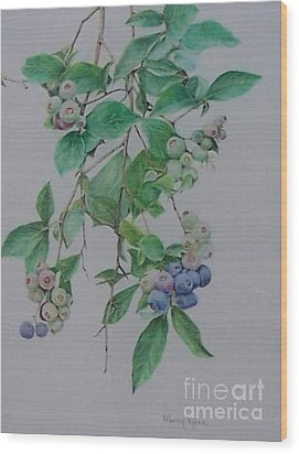 Wood Print featuring the drawing Mountain Blueberries by Mary Lynne Powers