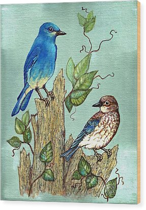Wood Print featuring the painting Mountain Bluebirds by VLee Watson