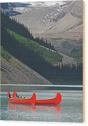 Mountain Canoes Wood Print