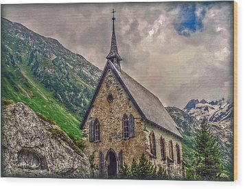 Wood Print featuring the photograph Mountain Chapel by Hanny Heim