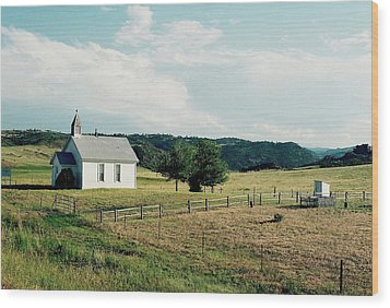 Mountain Church Wood Print