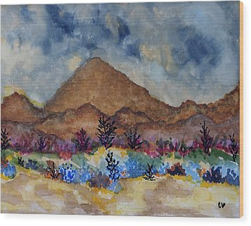 Mountain Desert Scene Wood Print