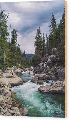 Mountain Emerald River Photography Print Wood Print