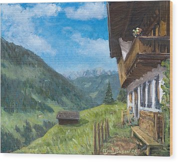 Mountain Farm In Austria Wood Print by Marco Busoni