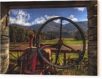 Mountain Farm View Wood Print