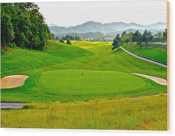 Mountain Golf Wood Print by Frozen in Time Fine Art Photography