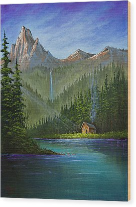 Mountain Haven Wood Print by C Steele