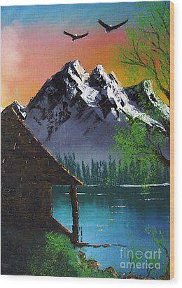 Mountain Lake Cabin W Eagles Wood Print by Marianne NANA Betts