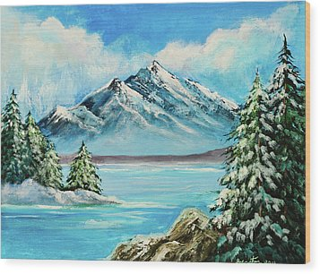 Wood Print featuring the painting Mountain Lake In Winter Original Painting Forsale by Bob and Nadine Johnston