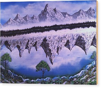 Wood Print featuring the painting Mountain Lake by Michael Rucker