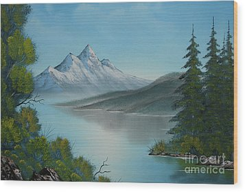 Mountain Lake Painting A La Bob Ross Wood Print
