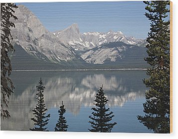 Mountain Lake Reflecting Mountain Range Wood Print by Michael Interisano