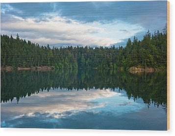 Mountain Lake Reflection Wood Print by Crystal Hoeveler