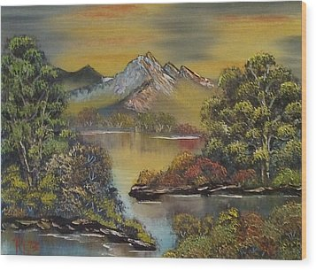 Mountain Lake Reflections Wood Print by Lee Bowman
