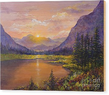 Wood Print featuring the painting Mountain Lake Sunset by Lou Ann Bagnall
