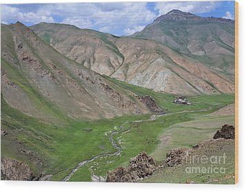 Mountain Landscape In The Tash Rabat Valley Of Kyrgyzstan Wood Print by Robert Preston