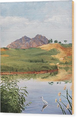 Mountain Landscape With Egret Wood Print