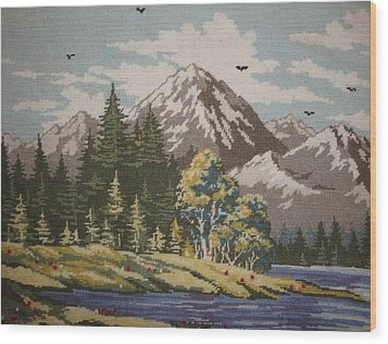 Mountain Lanscape Wood Print by Eugen Mihalascu