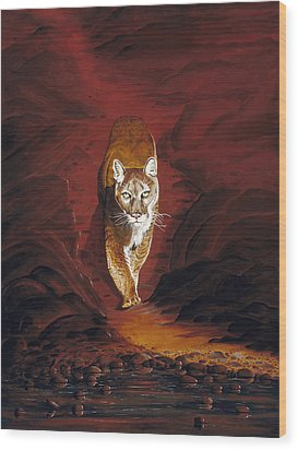 Mountain Lion Wood Print by Carl Genovese
