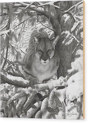 Mountain Lion Hideout Wood Print