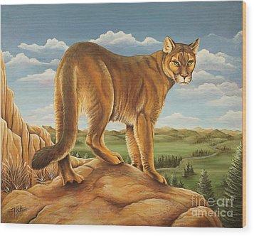 Mountain Lion Wood Print by Tish Wynne