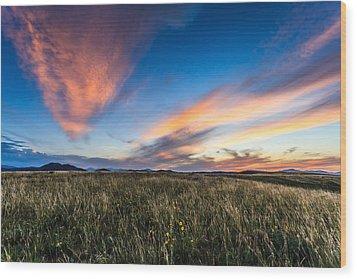 Mountain Meadow Sunset Wood Print by Jonathan Gewirtz