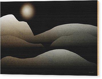 Mountain Moonlight Landscape Art Wood Print by Christina Rollo