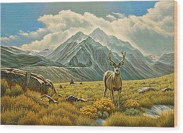 Mountain Muley Wood Print by Paul Krapf