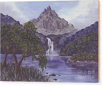 Mountain Peak Wood Print by Val Miller