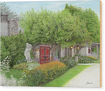 Wood Print featuring the painting Mountain Playhouse Jennerstown Pa by Albert Puskaric