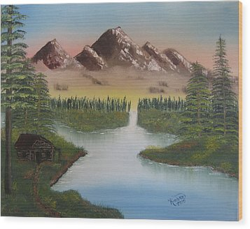 Mountain Retreat Wood Print by Kimber  Butler