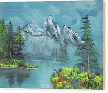 Wood Print featuring the painting Mountain Retreat by Michael Daniels