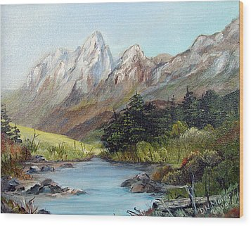 Mountain River Wood Print by Dorothy Maier