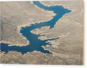 Mountain River From The Air Wood Print by Darleen Stry