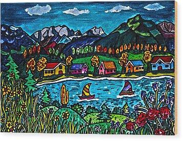 Mountain Sail Wood Print by Monica Engeler