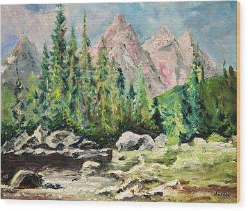 Mountain Scene Wood Print