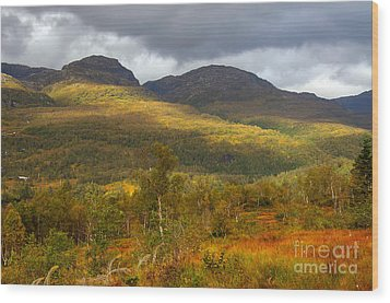 Mountain Scenery In Fall Wood Print by Gry Thunes