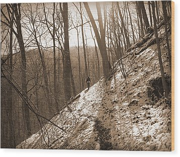 Mountain Side Wood Print by Melinda Fawver