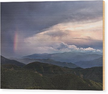 Mountain Storm And Rainbow Wood Print by Leland D Howard