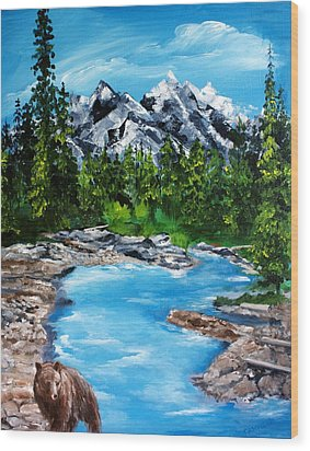 Wood Print featuring the painting Mountain Stream  by Ellen Canfield